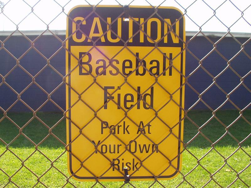 Baseball field warning