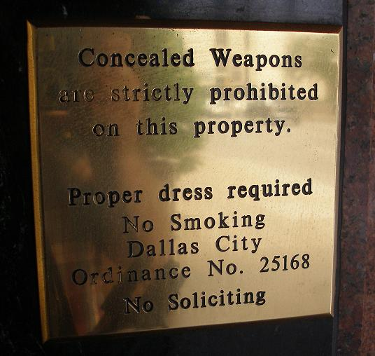 warnings outside of a hotel in Dallas, Texas.