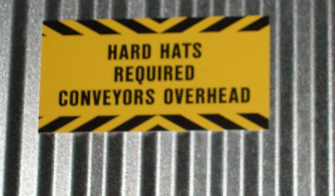 hardhat, conveyer warning