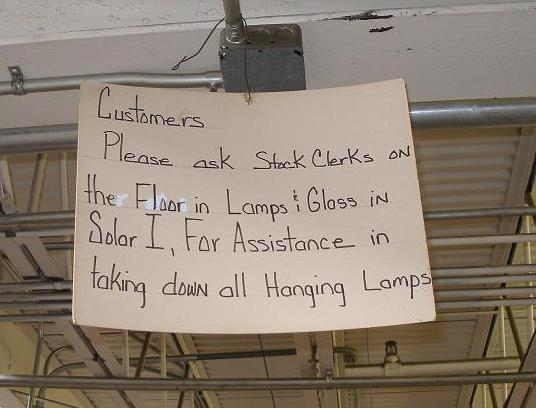 please ask for assistance taking down hanging lamps