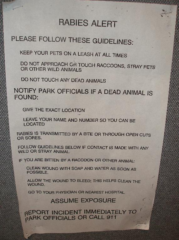 rabies warning in national park